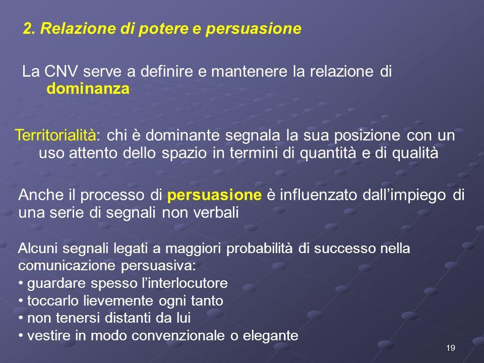 19 2. Relazione di potere e persuasione La CNV serve a definire e mantenere la relazione di dominanza Territorialità: chi è dominante segnala la sua p