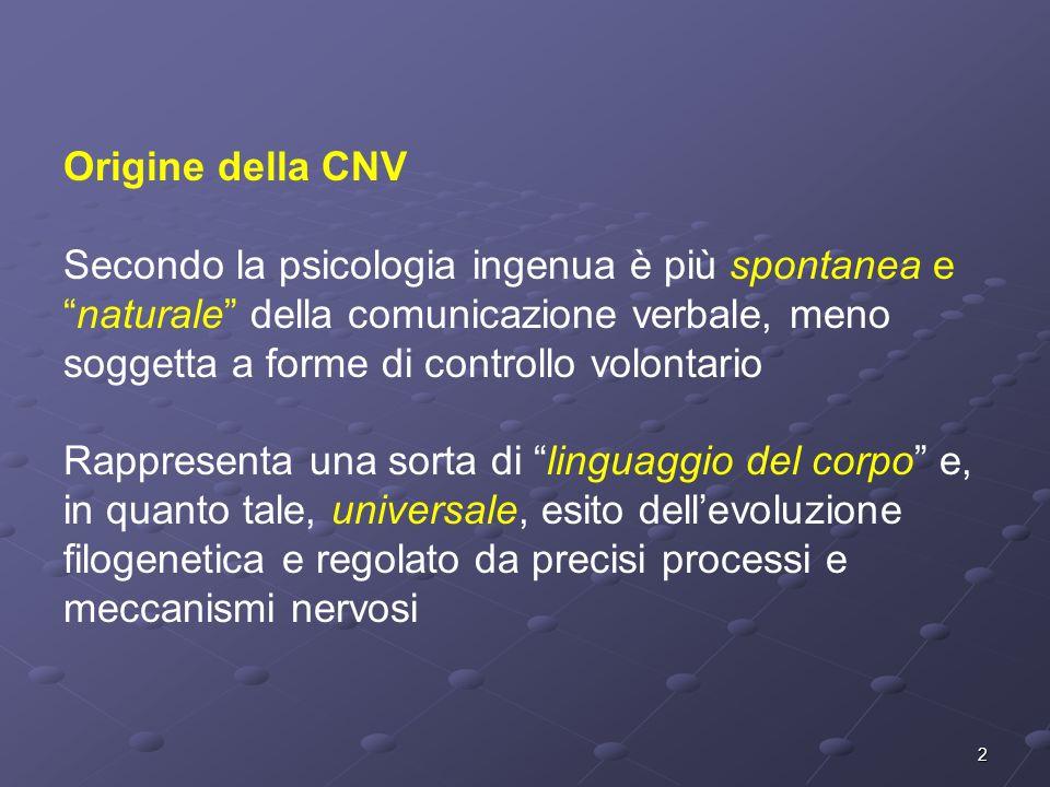 2 Origine della CNV Secondo la psicologia ingenua è più spontanea enaturale della comunicazione verbale, meno soggetta a forme di controllo volontario