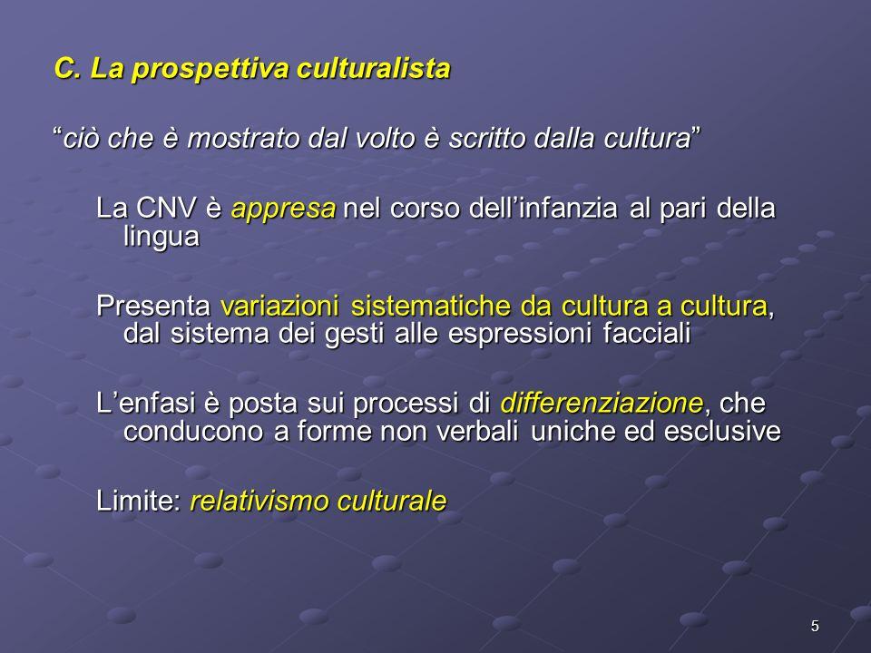 5 C. La prospettiva culturalista ciò che è mostrato dal volto è scritto dalla culturaciò che è mostrato dal volto è scritto dalla cultura La CNV è app