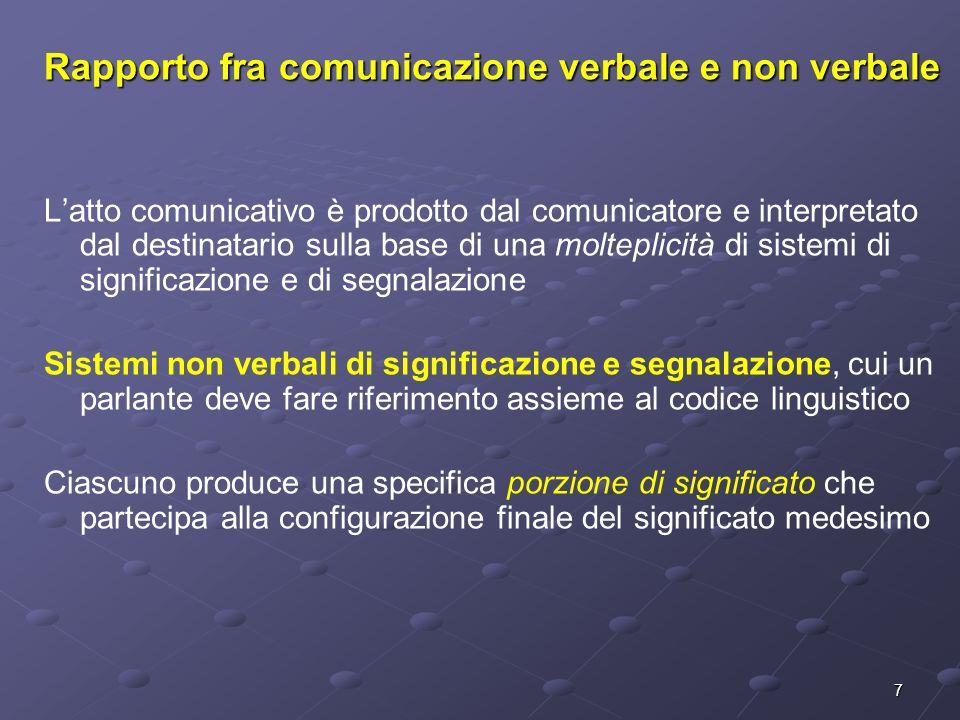 7 Rapporto fra comunicazione verbale e non verbale Latto comunicativo è prodotto dal comunicatore e interpretato dal destinatario sulla base di una mo