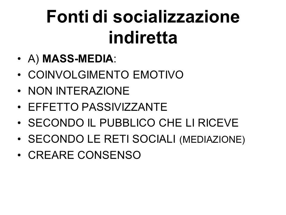 Fonti di socializzazione indiretta A) MASS-MEDIA: COINVOLGIMENTO EMOTIVO NON INTERAZIONE EFFETTO PASSIVIZZANTE SECONDO IL PUBBLICO CHE LI RICEVE SECON