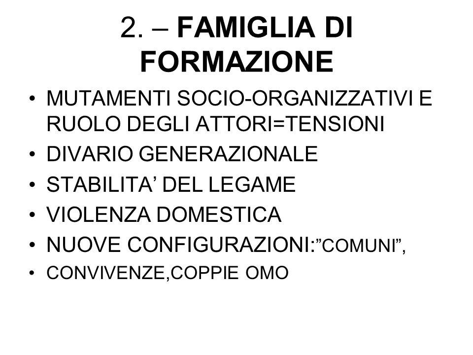 2. – FAMIGLIA DI FORMAZIONE MUTAMENTI SOCIO-ORGANIZZATIVI E RUOLO DEGLI ATTORI=TENSIONI DIVARIO GENERAZIONALE STABILITA DEL LEGAME VIOLENZA DOMESTICA