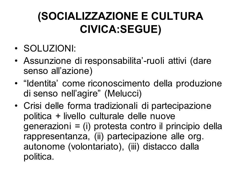 (SOCIALIZZAZIONE E CULTURA CIVICA:SEGUE) SOLUZIONI: Assunzione di responsabilita-ruoli attivi (dare senso allazione) Identita come riconoscimento dell