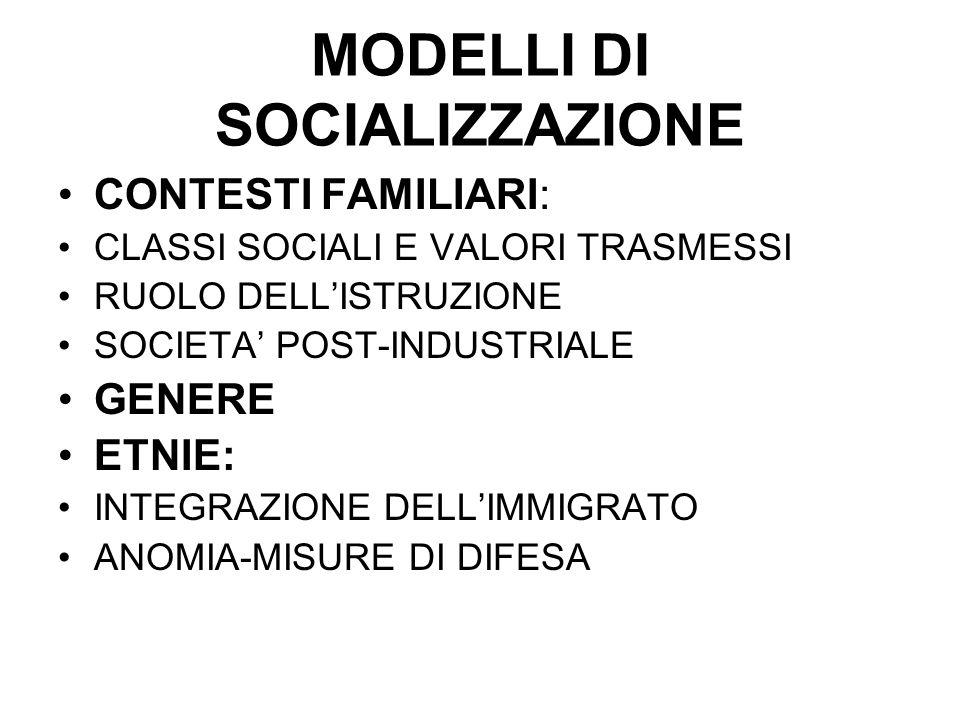 MODELLI DI SOCIALIZZAZIONE CONTESTI FAMILIARI: CLASSI SOCIALI E VALORI TRASMESSI RUOLO DELLISTRUZIONE SOCIETA POST-INDUSTRIALE GENERE ETNIE: INTEGRAZI