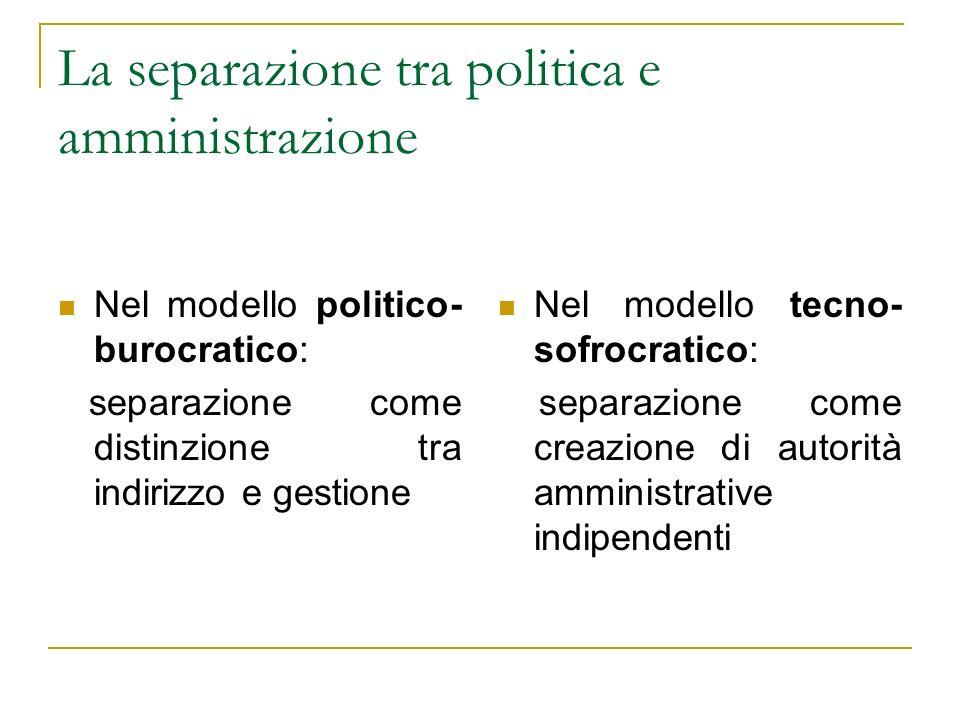 La separazione tra politica e amministrazione Nel modello politico- burocratico: separazione come distinzione tra indirizzo e gestione Nel modello tec