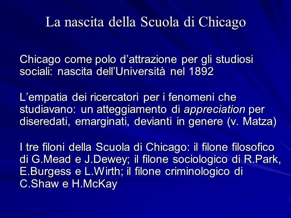 La nascita della Scuola di Chicago Chicago come polo dattrazione per gli studiosi sociali: nascita dellUniversità nel 1892 Lempatia dei ricercatori pe