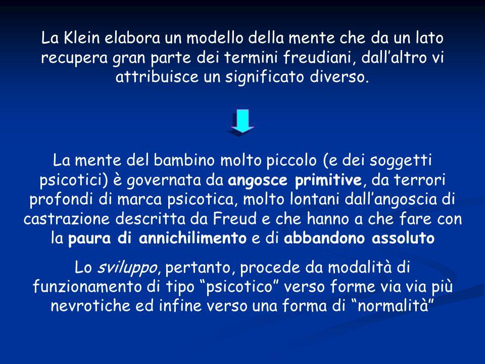 La Klein elabora un modello della mente che da un lato recupera gran parte dei termini freudiani, dallaltro vi attribuisce un significato diverso.