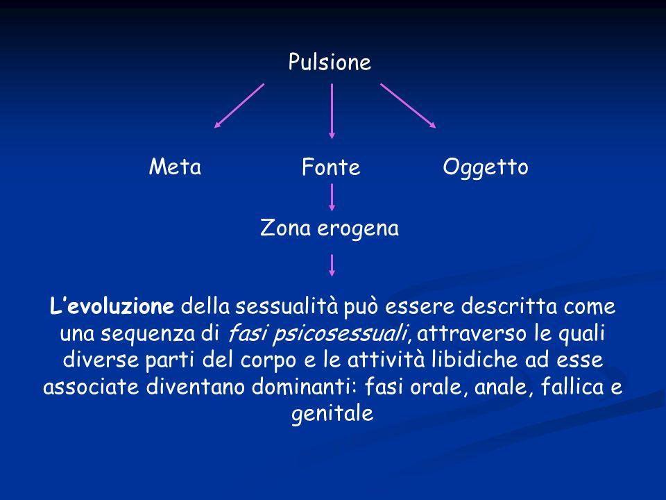 Pulsione Fonte MetaOggetto Zona erogena Levoluzione della sessualità può essere descritta come una sequenza di fasi psicosessuali, attraverso le quali diverse parti del corpo e le attività libidiche ad esse associate diventano dominanti: fasi orale, anale, fallica e genitale