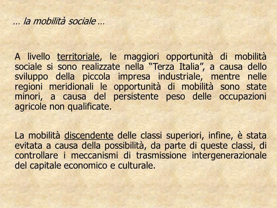 A livello territoriale, le maggiori opportunità di mobilità sociale si sono realizzate nella Terza Italia, a causa dello sviluppo della piccola impres