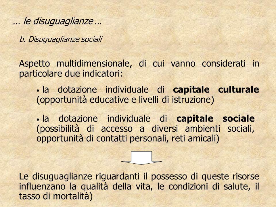 la dotazione individuale di capitale culturale (opportunità educative e livelli di istruzione) … le disuguaglianze … b. Disuguaglianze sociali la dota