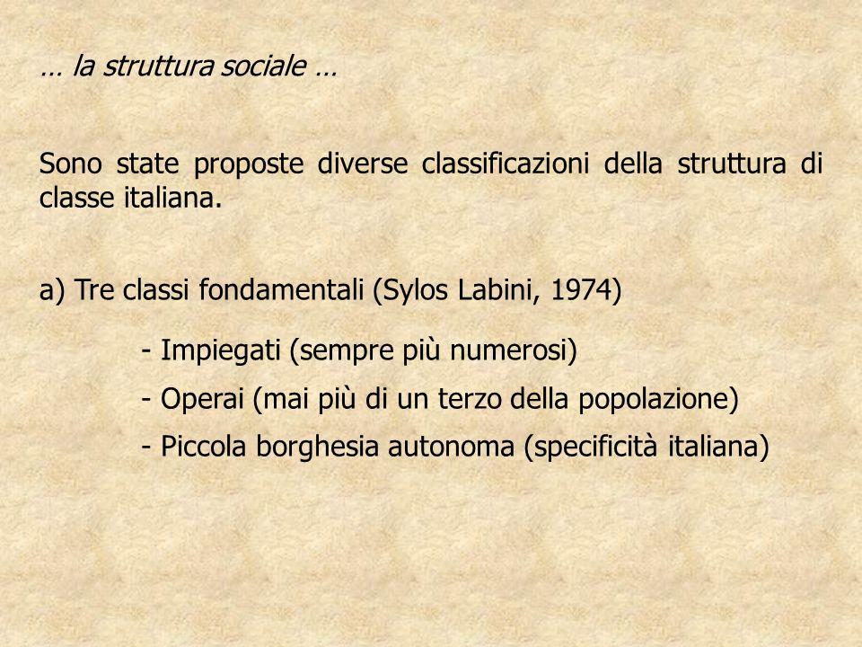 Sono state proposte diverse classificazioni della struttura di classe italiana. a) Tre classi fondamentali (Sylos Labini, 1974) … la struttura sociale