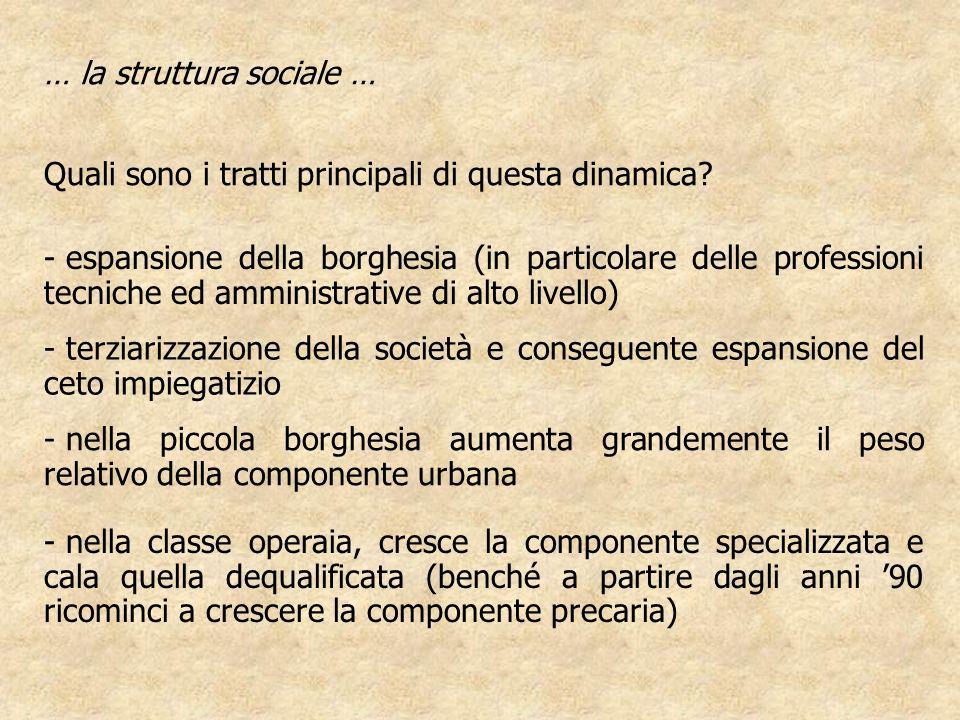 Quali sono i tratti principali di questa dinamica? … la struttura sociale … - espansione della borghesia (in particolare delle professioni tecniche ed