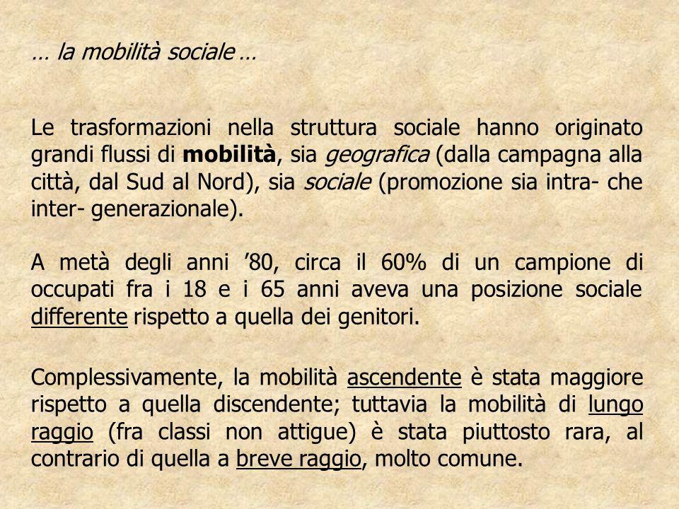 Le trasformazioni nella struttura sociale hanno originato grandi flussi di mobilità, sia geografica (dalla campagna alla città, dal Sud al Nord), sia sociale (promozione sia intra- che inter- generazionale).