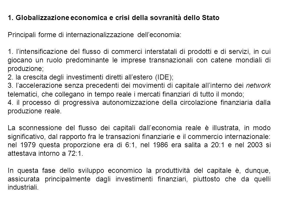 1. Globalizzazione economica e crisi della sovranità dello Stato Principali forme di internazionalizzazione delleconomia: 1. lintensificazione del flu