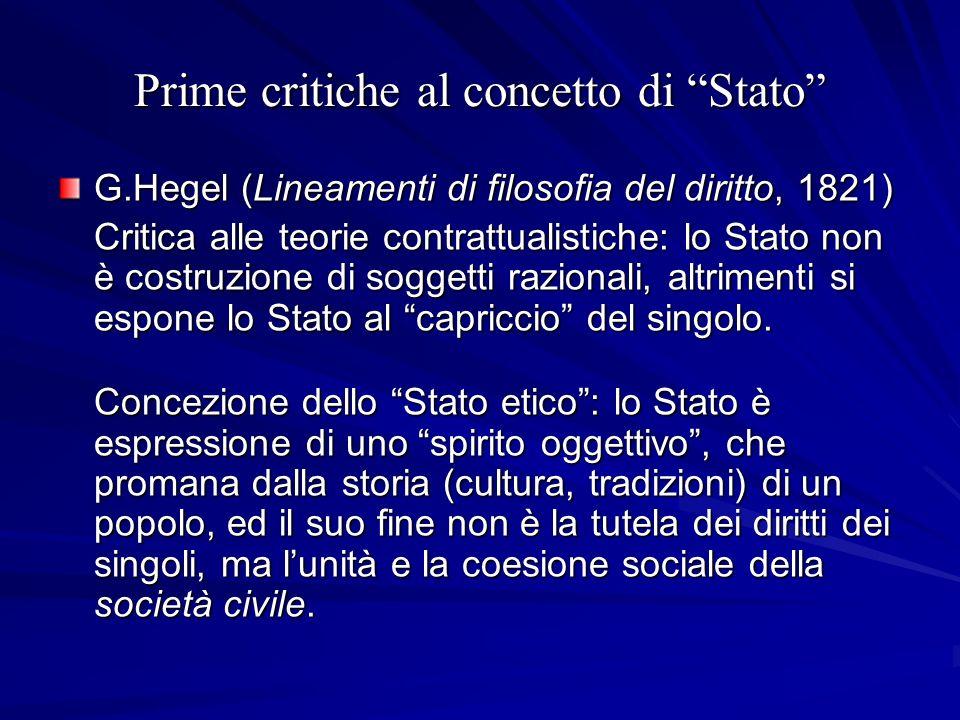 Prime critiche al concetto di Stato G.Hegel (Lineamenti di filosofia del diritto, 1821) Critica alle teorie contrattualistiche: lo Stato non è costruz