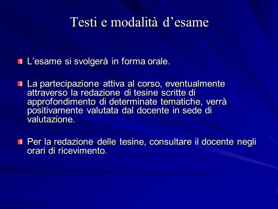 Testi e modalità desame Lesame si svolgerà in forma orale. La partecipazione attiva al corso, eventualmente attraverso la redazione di tesine scritte