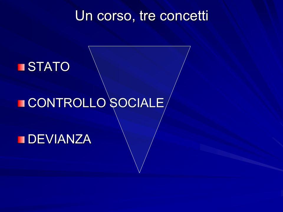 Un corso, tre concetti STATO CONTROLLO SOCIALE DEVIANZA