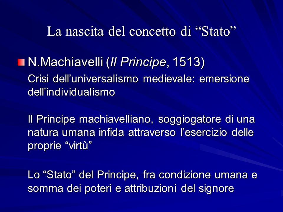 La nascita del concetto di Stato N.Machiavelli (Il Principe, 1513) Crisi delluniversalismo medievale: emersione dellindividualismo Il Principe machiav