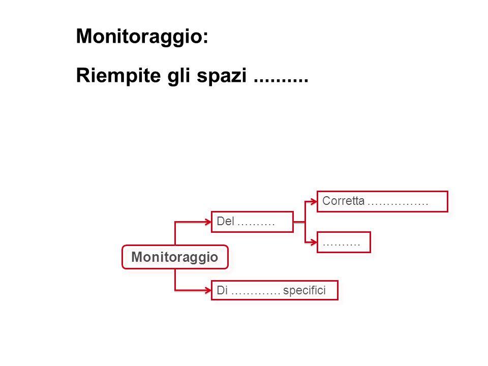Monitoraggio: Riempite gli spazi..........Monitoraggio Del ……….