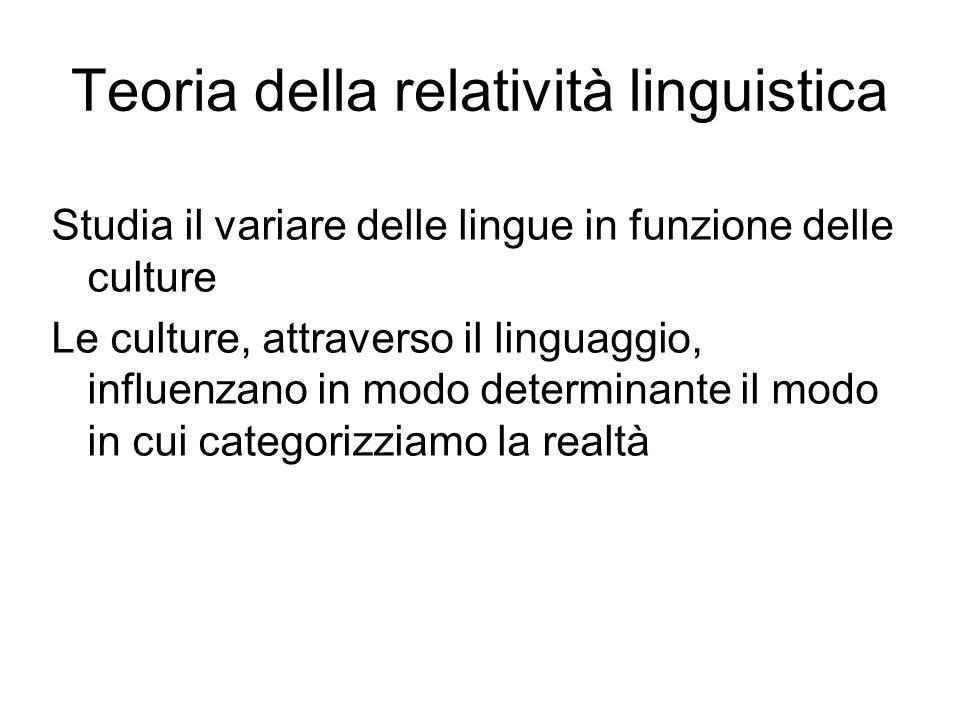Teoria della relatività linguistica Studia il variare delle lingue in funzione delle culture Le culture, attraverso il linguaggio, influenzano in modo