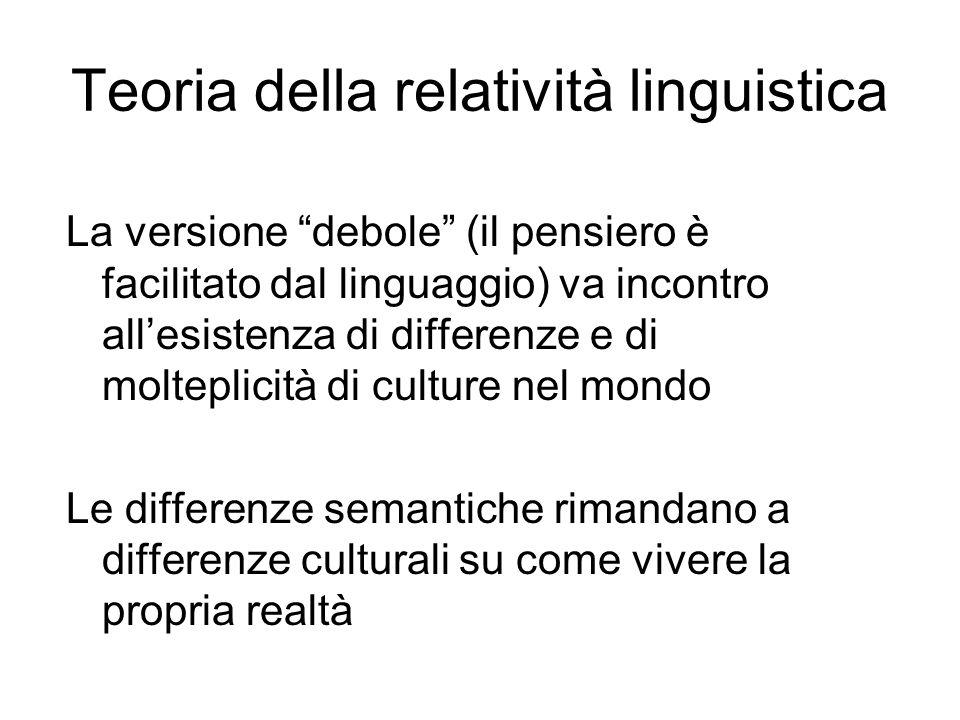 La versione debole (il pensiero è facilitato dal linguaggio) va incontro allesistenza di differenze e di molteplicità di culture nel mondo Le differen