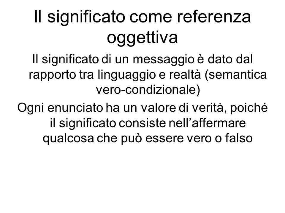 Il significato come referenza oggettiva Il significato di un messaggio è dato dal rapporto tra linguaggio e realtà (semantica vero-condizionale) Ogni