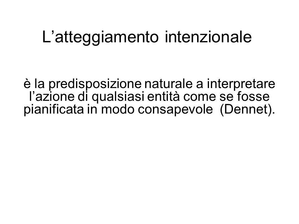 Latteggiamento intenzionale è la predisposizione naturale a interpretare lazione di qualsiasi entità come se fosse pianificata in modo consapevole (De