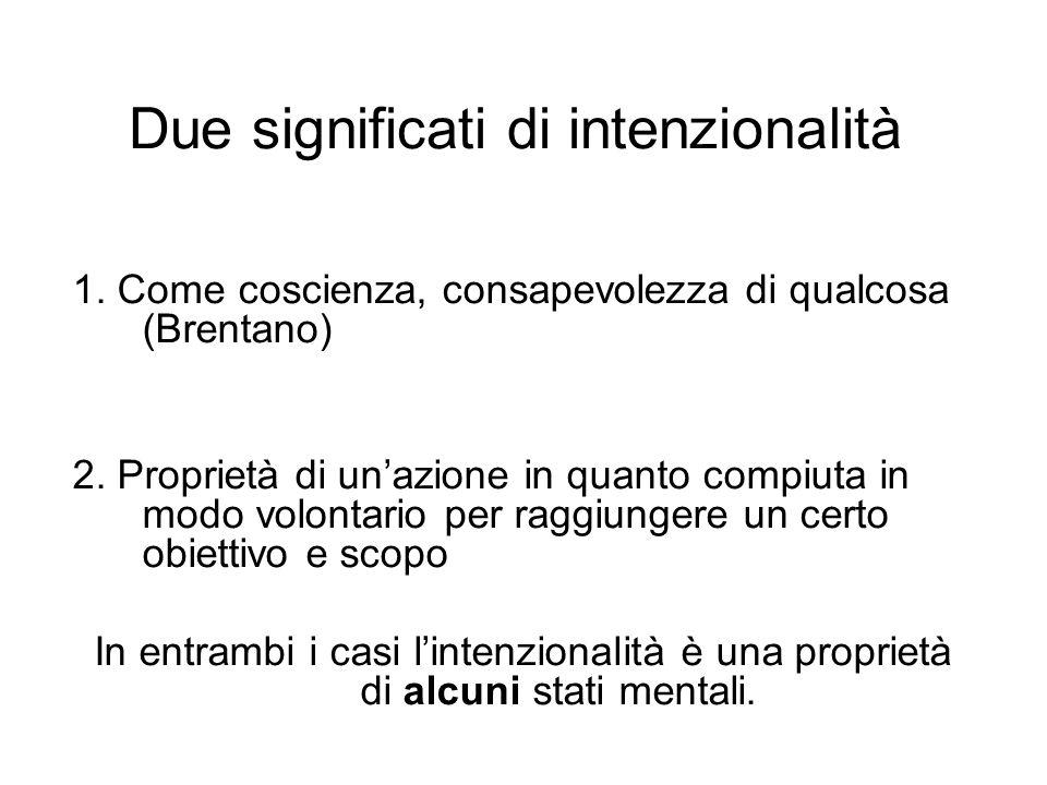 Due significati di intenzionalità 1. Come coscienza, consapevolezza di qualcosa (Brentano) 2. Proprietà di unazione in quanto compiuta in modo volonta