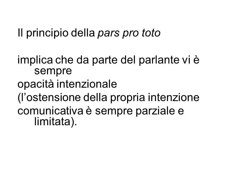 Il principio della pars pro toto implica che da parte del parlante vi è sempre opacità intenzionale (lostensione della propria intenzione comunicativa