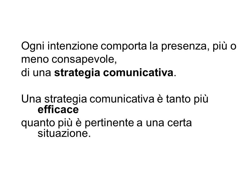 Ogni intenzione comporta la presenza, più o meno consapevole, di una strategia comunicativa. Una strategia comunicativa è tanto più efficace quanto pi