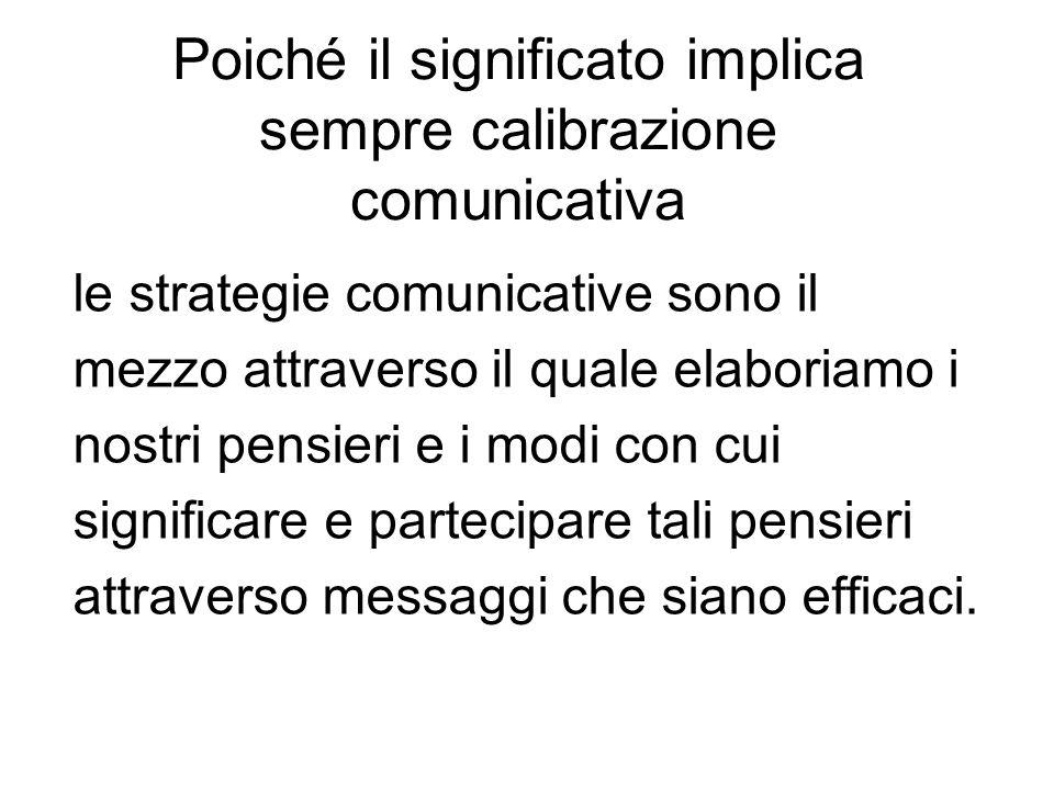 Poiché il significato implica sempre calibrazione comunicativa le strategie comunicative sono il mezzo attraverso il quale elaboriamo i nostri pensier