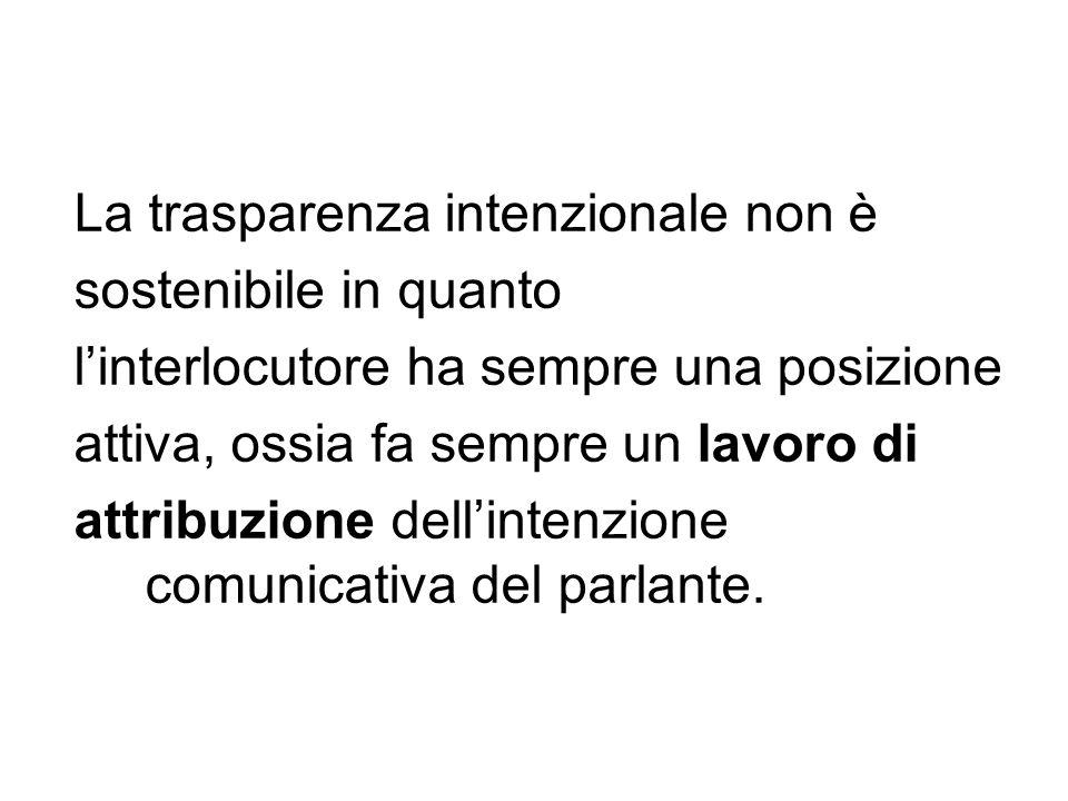 La trasparenza intenzionale non è sostenibile in quanto linterlocutore ha sempre una posizione attiva, ossia fa sempre un lavoro di attribuzione delli