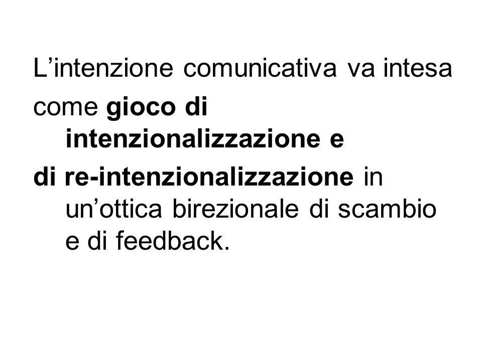 Lintenzione comunicativa va intesa come gioco di intenzionalizzazione e di re-intenzionalizzazione in unottica birezionale di scambio e di feedback.