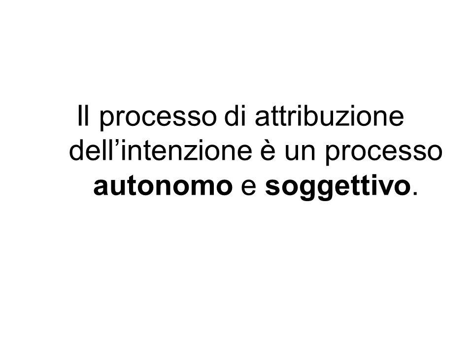 Il processo di attribuzione dellintenzione è un processo autonomo e soggettivo.