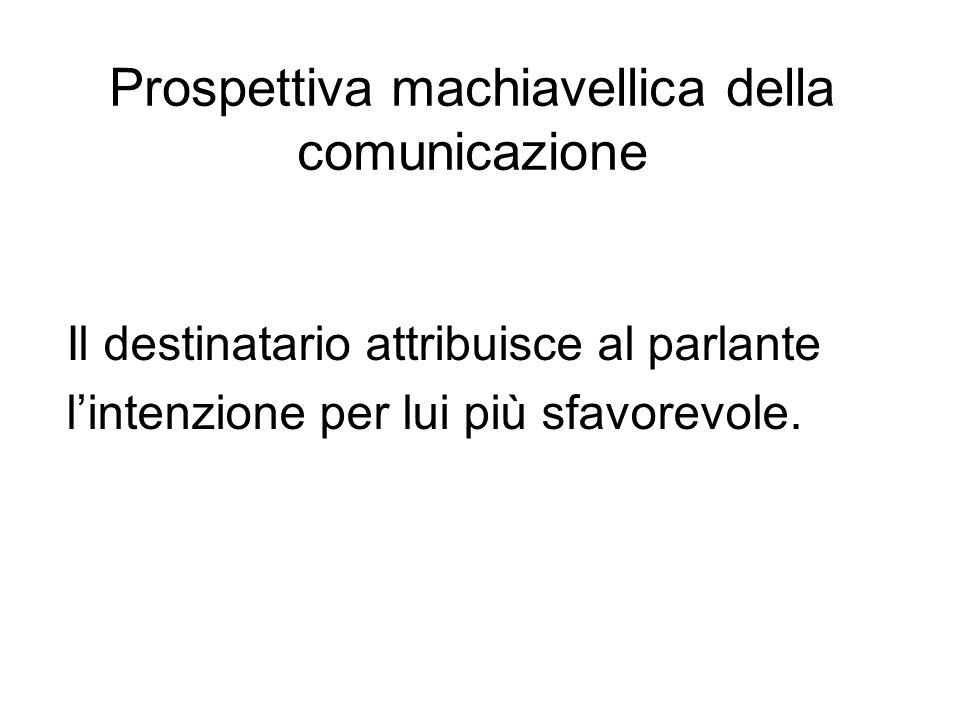 Prospettiva machiavellica della comunicazione Il destinatario attribuisce al parlante lintenzione per lui più sfavorevole.