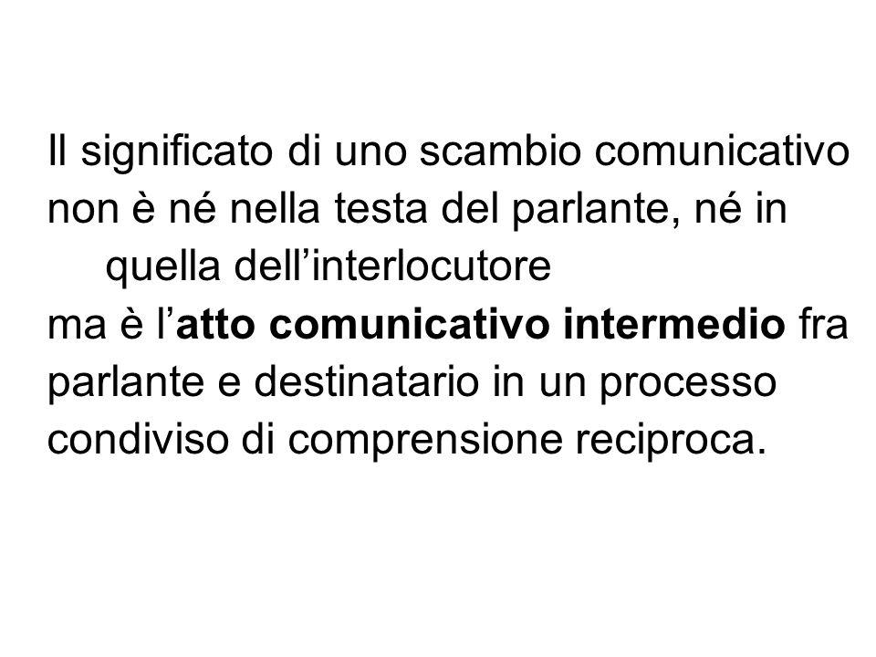 Il significato di uno scambio comunicativo non è né nella testa del parlante, né in quella dellinterlocutore ma è latto comunicativo intermedio fra pa