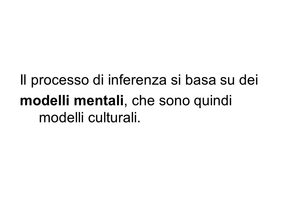 Il processo di inferenza si basa su dei modelli mentali, che sono quindi modelli culturali.