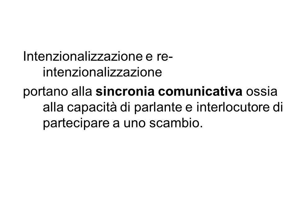 Intenzionalizzazione e re- intenzionalizzazione portano alla sincronia comunicativa ossia alla capacità di parlante e interlocutore di partecipare a u