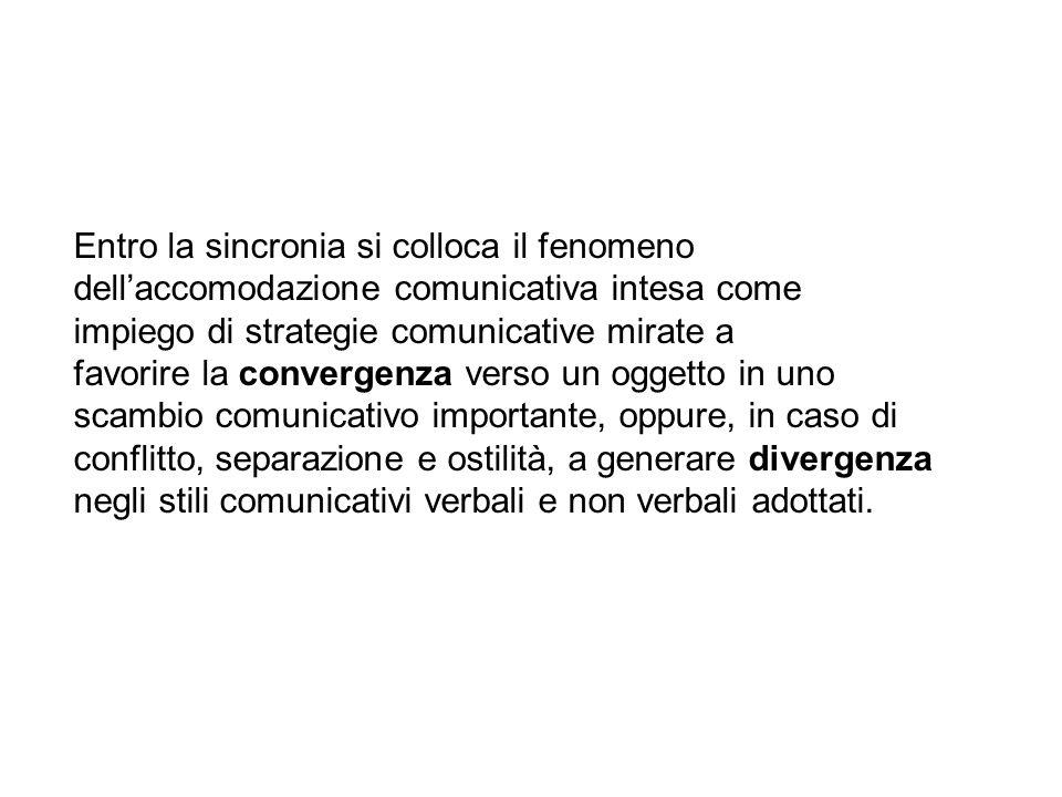 Entro la sincronia si colloca il fenomeno dellaccomodazione comunicativa intesa come impiego di strategie comunicative mirate a favorire la convergenz