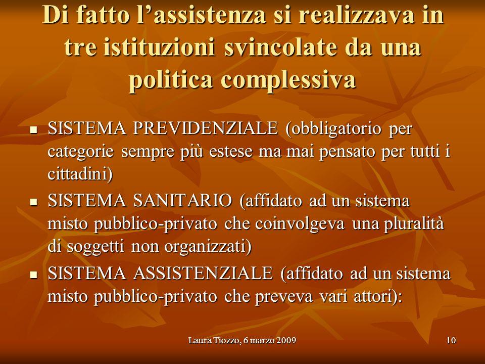 Laura Tiozzo, 6 marzo 200910 Di fatto lassistenza si realizzava in tre istituzioni svincolate da una politica complessiva SISTEMA PREVIDENZIALE (obbli