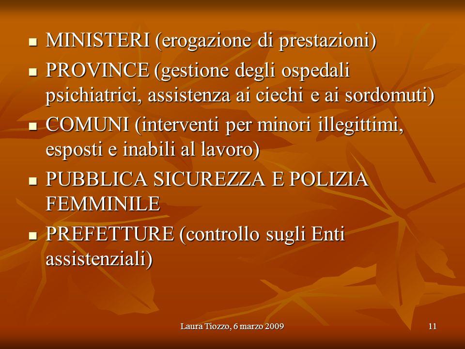 Laura Tiozzo, 6 marzo 200911 MINISTERI (erogazione di prestazioni) MINISTERI (erogazione di prestazioni) PROVINCE (gestione degli ospedali psichiatric