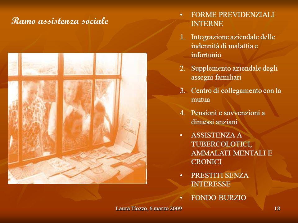 Laura Tiozzo, 6 marzo 200918 FORME PREVIDENZIALI INTERNE 1.Integrazione aziendale delle indennità di malattia e infortunio 2.Supplemento aziendale deg