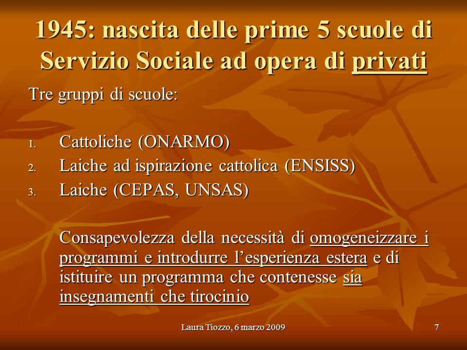 Laura Tiozzo, 6 marzo 20097 1945: nascita delle prime 5 scuole di Servizio Sociale ad opera di privati Tre gruppi di scuole: 1. Cattoliche (ONARMO) 2.