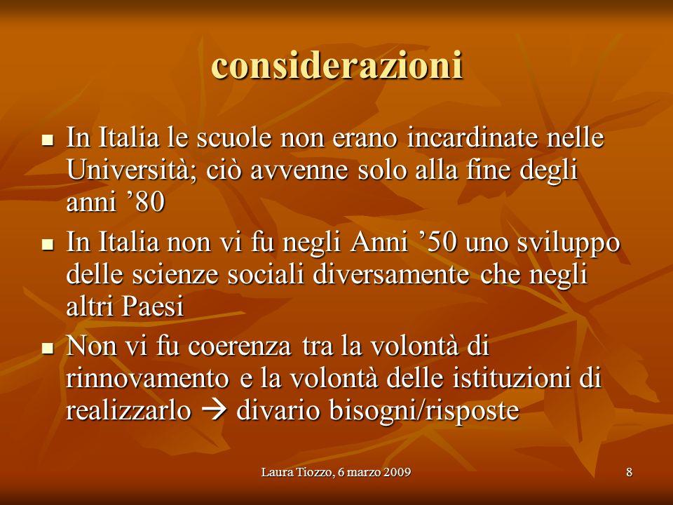 Laura Tiozzo, 6 marzo 20098 considerazioni In Italia le scuole non erano incardinate nelle Università; ciò avvenne solo alla fine degli anni 80 In Ita