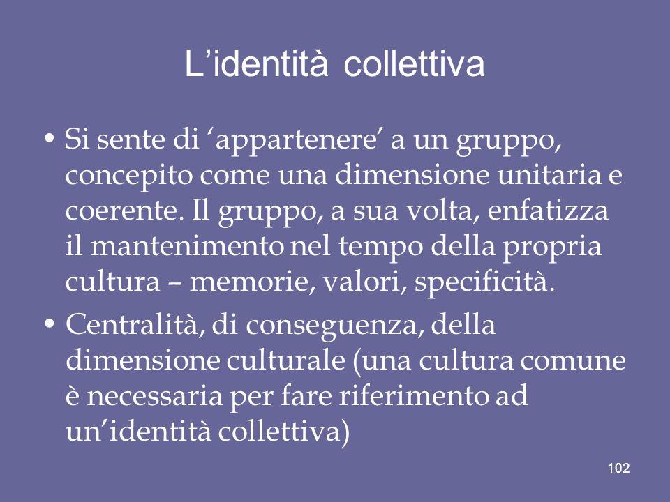 Lidentità collettiva Si sente di appartenere a un gruppo, concepito come una dimensione unitaria e coerente. Il gruppo, a sua volta, enfatizza il mant