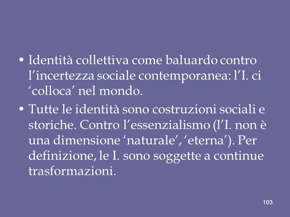 Identità collettiva come baluardo contro lincertezza sociale contemporanea: lI. ci colloca nel mondo. Tutte le identità sono costruzioni sociali e sto