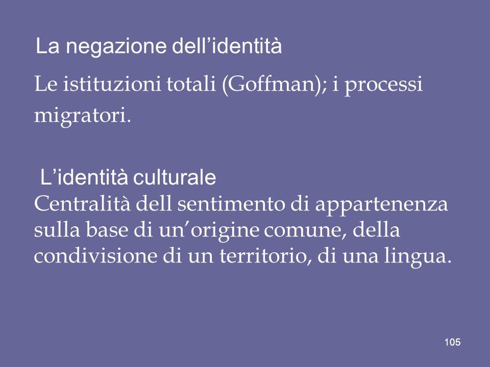 La negazione dellidentità Le istituzioni totali (Goffman); i processi migratori. Lidentità culturale Centralità dell sentimento di appartenenza sulla