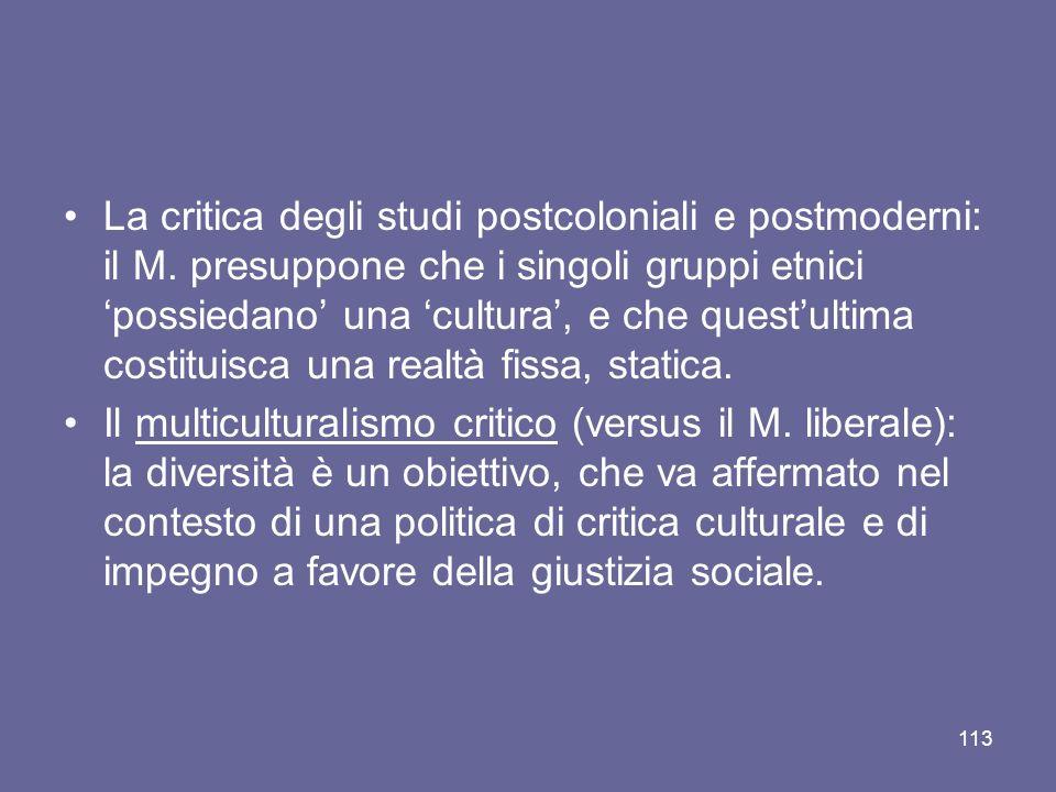 La critica degli studi postcoloniali e postmoderni: il M. presuppone che i singoli gruppi etnici possiedano una cultura, e che questultima costituisca