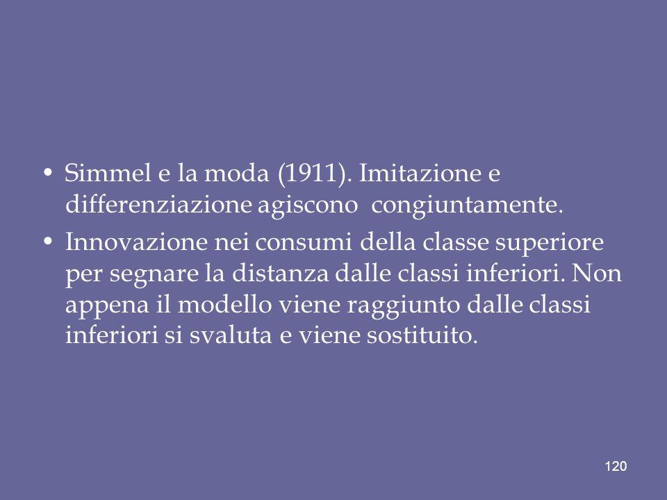 Simmel e la moda (1911). Imitazione e differenziazione agiscono congiuntamente. Innovazione nei consumi della classe superiore per segnare la distanza