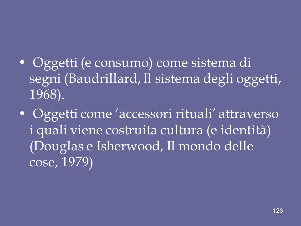 Oggetti (e consumo) come sistema di segni (Baudrillard, Il sistema degli oggetti, 1968). Oggetti come accessori rituali attraverso i quali viene costr